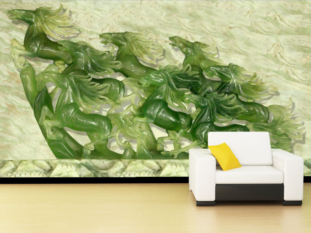 3D Jade, horses 989 Wall Paper Wall Print Decal Wall Deco Indoor Wall Murals