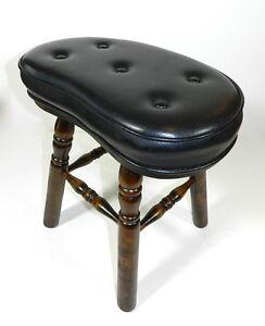 Vintage-Wood-Foot-Stool-Black