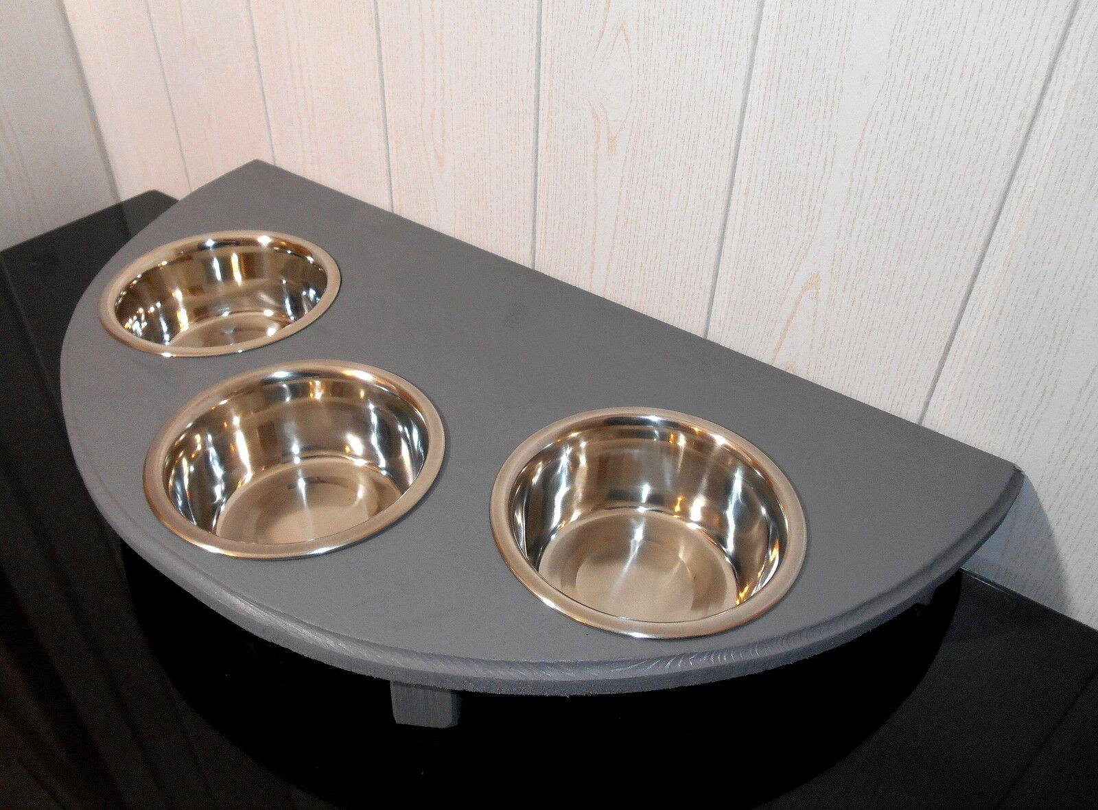 Futternapf mit 3 Näpfen, grau, halbrund, -Buche- Futterbar, Napfbar (11c)  | Neueste Technologie