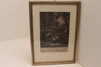 Jh Mild And Mellow Art Rational Johann Ridinger Picture Original Stitch Deer In Seeheimer Fir Tree 18
