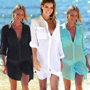 e3c6c19a59 Womens Swimsuit Bikini Cover Up Robe Tunic Shirt V-Neck Summer Soli ...