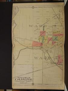 Michigan Branch County Map 1915 Coldwater Two Double Pages L2 60