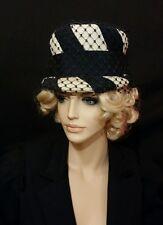 Vintage hat Lanvin blue white netting 1950s