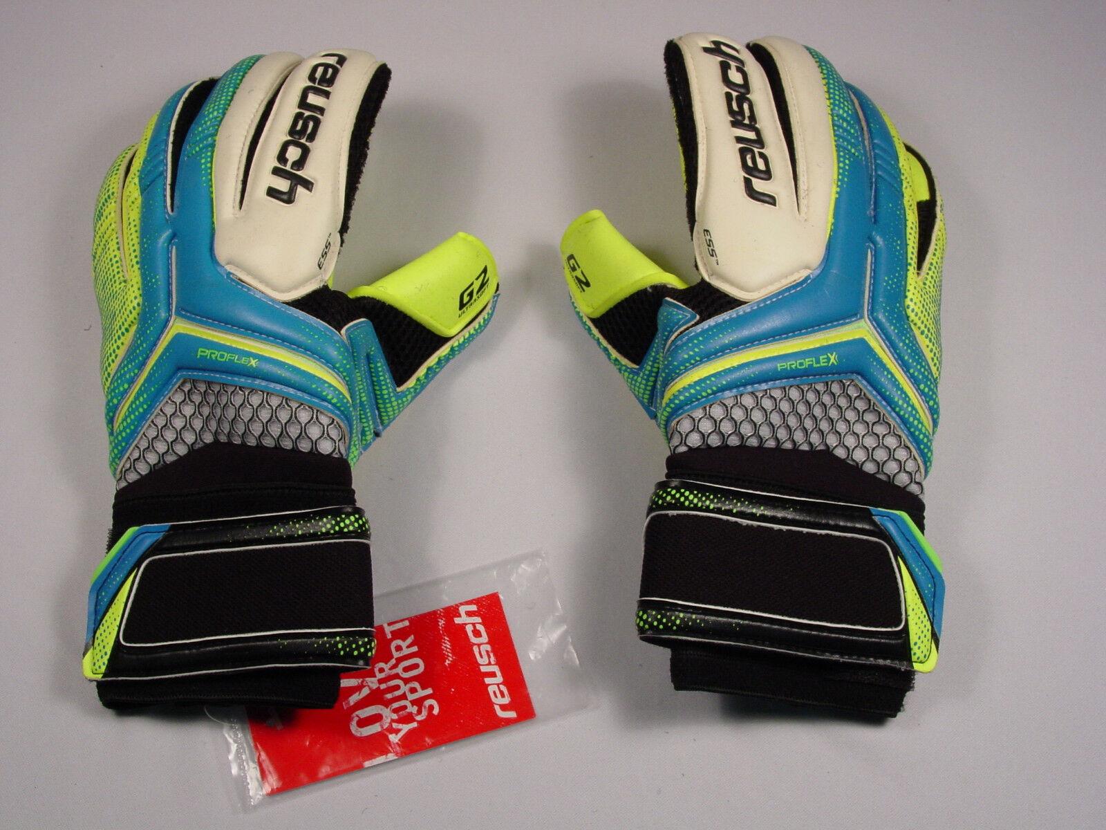 Reusch Guantes De Arquero De Fútbol Re  Ceptor Pro G2 3570906S SZ9 azul y amarillo de muestras
