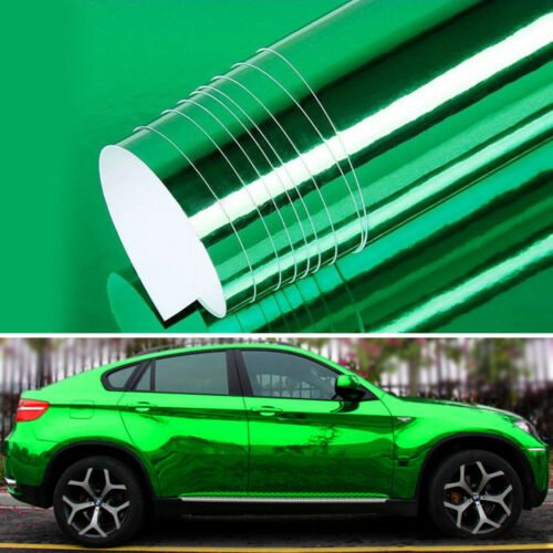 "12/"" x 60/"" Green Chrome Mirror Vinyl Film Wrap Sticker Stretchable 1ft x 5ft"