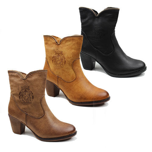 WOMENS CASUAL COWBOY STYLE MID HIGH CUBAN HEEL ANKLE BOOTS LADIES SHOES SIZE 3-8