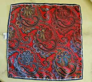 Cesare Attolini Red With Blue Paisley Motif Pocket Square Handmade In Italy