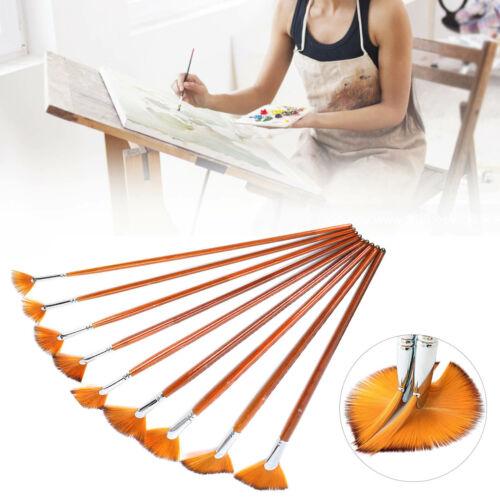 9Pcs Nylon Wool Fan Paint Brushes Set Nylon Brush for Oil Watercolor Artist Art