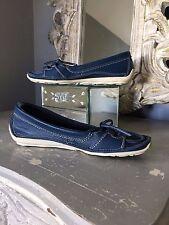 Softwaves ~ Nuevo Y En Caja, 100% Cuero, Zapatos Planos Mocasín Azul Marino ~ UK 4.5 EU 37