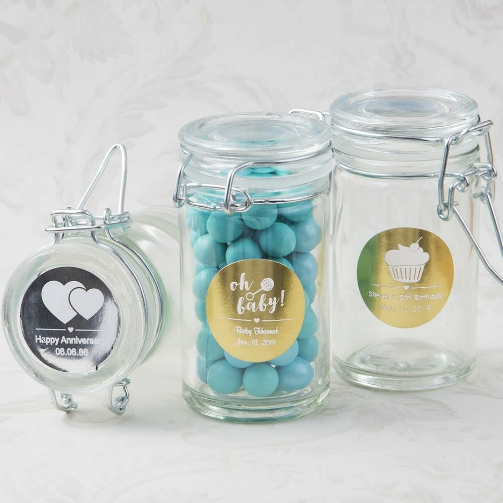 60 Personalized Glass Apothecary Candy Jar Baby Christening Shower Party Favors