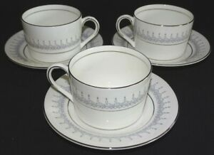 Coalport-England-Avon-3-Flat-Cups-amp-Saucers-Bone-China-Platinum-Trim
