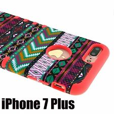 For iPhone 7+ Plus - HYBRID HARD & SOFT RUBBER ARMOR CASE COVER PINK GREEN AZTEC
