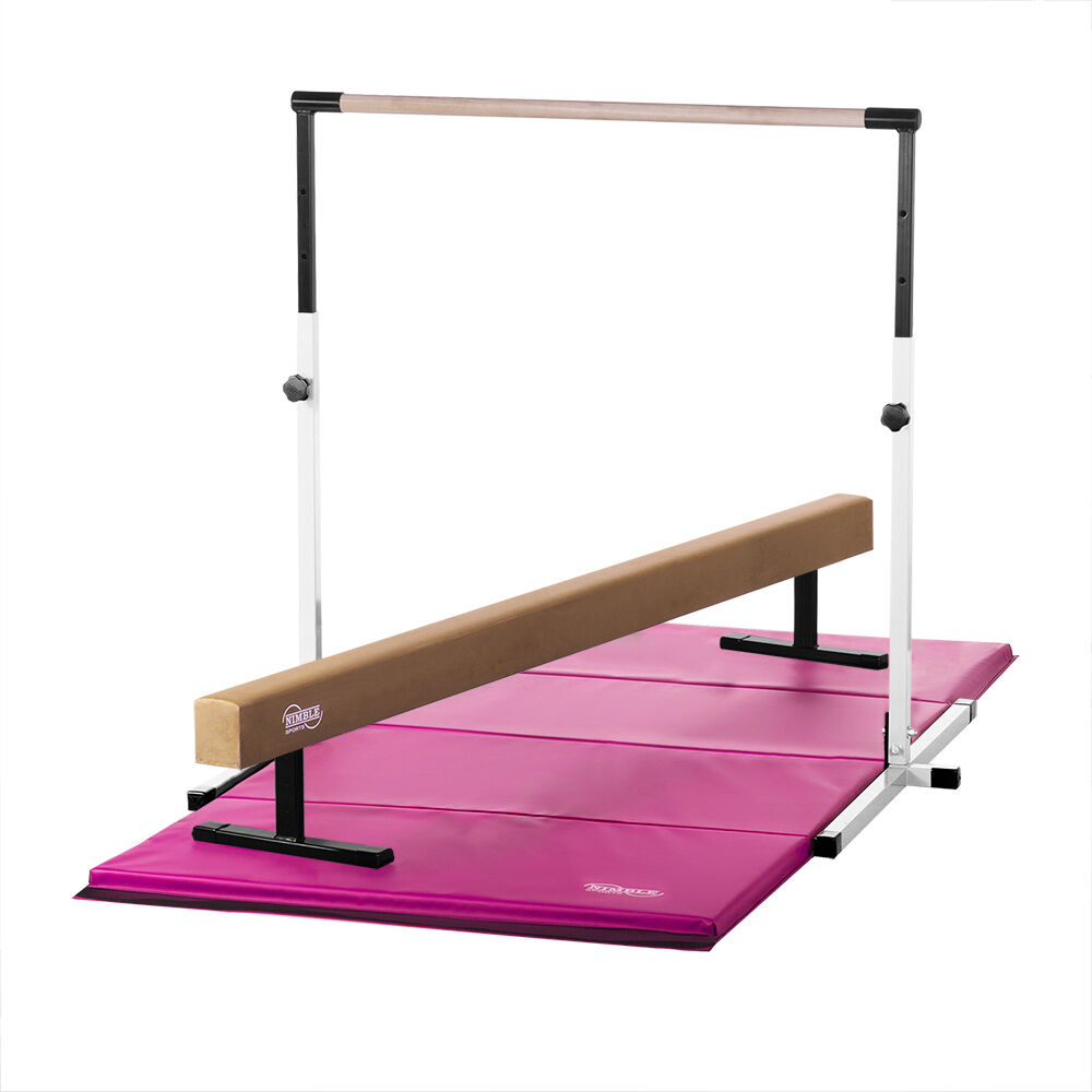 White Horizontal Bar, 12in High Tan Balance Beam  and Pink Gymnastics Mat Combo  the lowest price