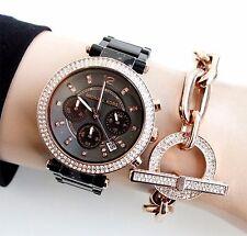 Original Michael Kors Uhr Damenuhr MK5539 Parker Farbe:Schwarz/Rose Gold NEU