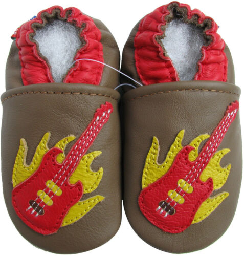 carozoo soft sole leather baby shoes guitar brown 18-24m