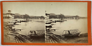Degoix, Stéréo, Italie, Lago Maggiore, Arona Vintage stereo card,  Tirage albu