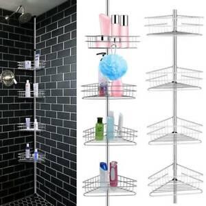 Bathroom Shower Corner Shelf Telescopic Pole Caddy Storage 4 Baskets Organiser Ebay