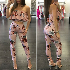 190e685642 Women 2 Piece Outfits Off Shoulder Floral Crop Top Pants Set Casual ...