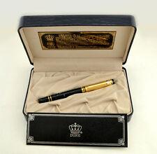 Duke Gold Medal Fountain Pen - Gold Cap, Blue Italian Resin 14k Nib - New in Box