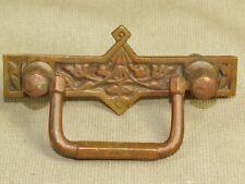 "Vintage Art Nouveau Deco Ornate Solid  Brass Drawer Pull 3.5"""