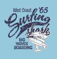 "Surfing Shark Surfboards Bumper Sticker 4"" x 4"""