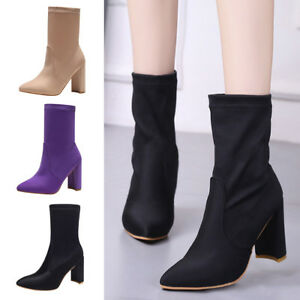 Womens PU Leather Pointed Toe High Block Heel Sock Ankle Boots Ladies Shoes Size