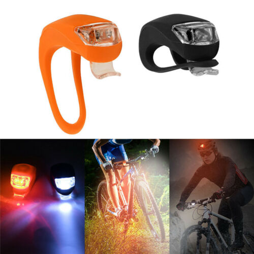 2Pcs Silicone Bicycle Bike Cycle Safety LED Head Front /& Rear Tail Light Set TS