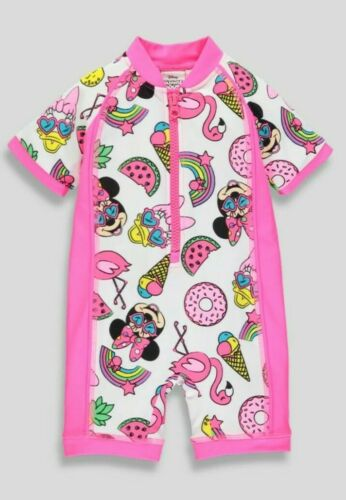 Girls Disney Minnie Mouse Surf Suit Kids Swimwear Beach Pool Holiday Swimwear.