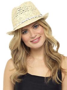Para-Mujer-De-Paja-Verano-Sombrero-Semi-ala-Unisex-Sol-Panama-Fedora-Para-Hombre-Trilby-Sombrero