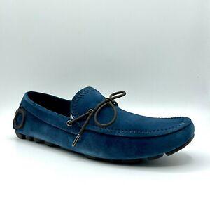 Salvatore Ferragamo Atlante Men's Petrol Blue Suede Hotsebit Loafer Shoe 708347