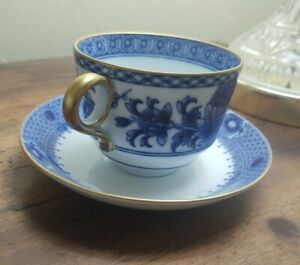 Set of 4 Mottahedeh Imperial Blue Cups and Saucers