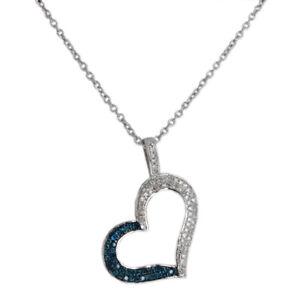 Neu-33ctw-Einzel-Karat-Blau-amp-Weiss-Diamant-Herzanhaenger-Sterling-Verstellbar