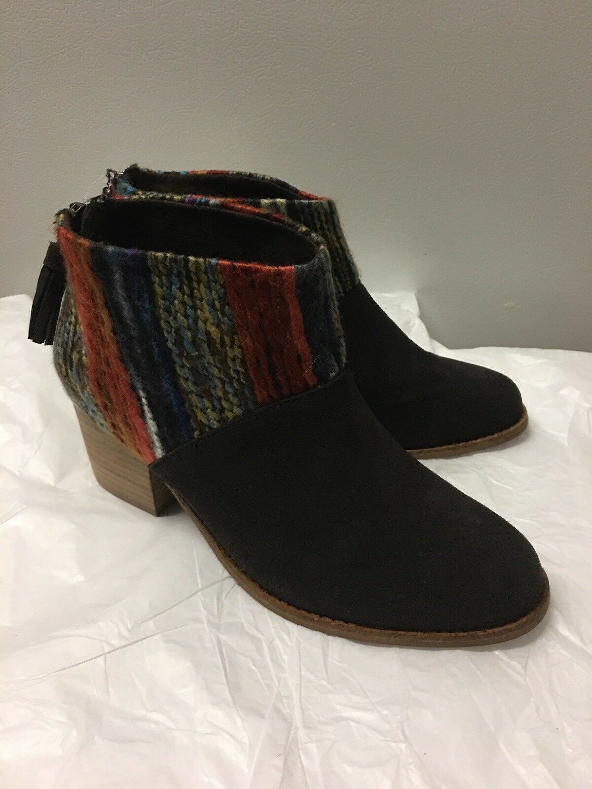 TOMS Heel Leila Braun Suede Farbeful Yarn Knit Bootie Boot Heel TOMS Boho Hippy 8 1faf2d