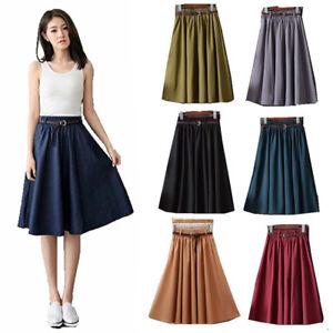 Women Skirt Dress Ladies High Waist Elastic A-Line Long Skater Stretchy Swing
