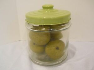 Decorative Clear Glass Canister Jar Green Plastic Lid 5 Fake Pears