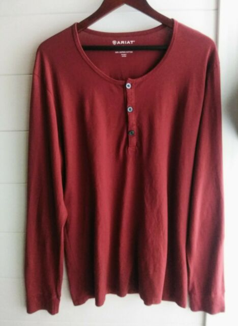 Ariat Mens Henley 100% Supima Cotton Long Sleeve Red Size Large