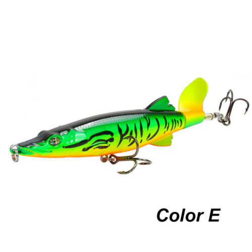 16g 130mm Bass Topwater Rotating Tail Fishing Lure VMC Hooks Fish Bait Plopper