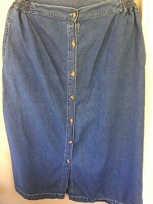 High low skirt Elastic Waistband Denim Pocket Skirt ~ Mishu ~ Knee Length Pocket skirt