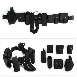 Men-Police-Guard-Tactical-Belt-Buckles-Black-With-9-Pouches-Utility-System