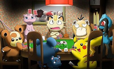 Pokemon playing poker - Huge Poster  22 in x 34 in ( Fast Shipping ) in Tube 115