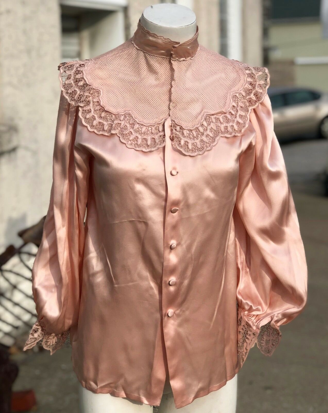 Vintage 1950 Retro Hand Made Rosa Silk & Lace Snap Up Choker Top Blouse Shirt M