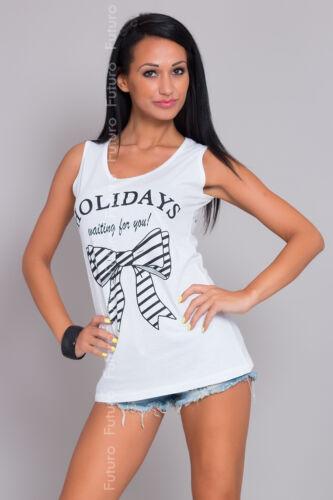 Femme Casual Débardeur sans manches d/'impression de vacances T-shirt en coton tailles 8-14 fb43