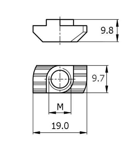 M6 T Nut 10mm SlotGalvanized SteelBosch Rexroth CompatibleHammer Nut