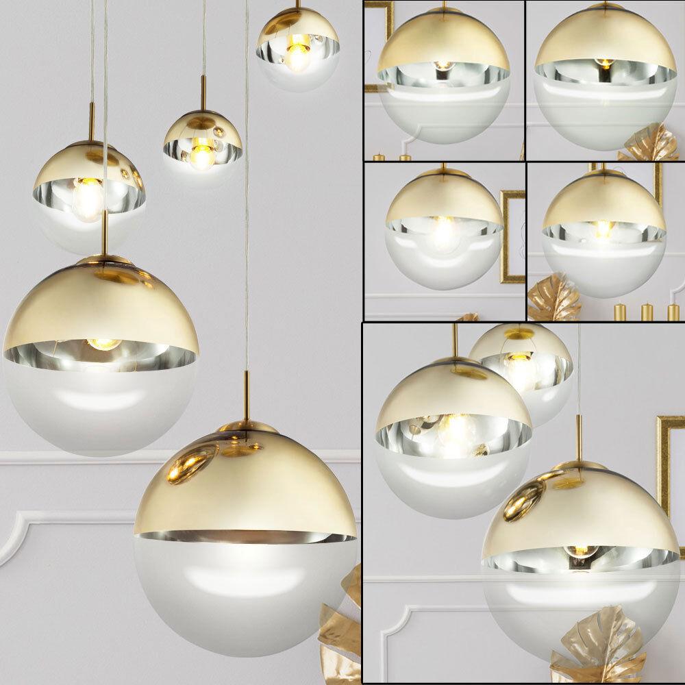 Ceiling Design Pendant Hanging Lamp Fixture Ball Glass Gold Lighting Dining Room