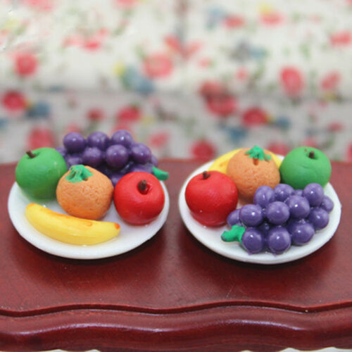 1:12 Doll House Miniature food fruit dish with grape Apple for doll/'s kitchen ``