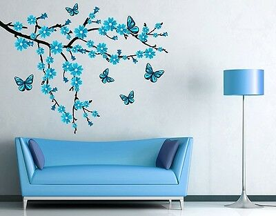 Butterflies and Branch Wall Decal, Floral Decals, sticker, mural