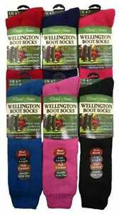 2-Ladies-GOLD-EDITION-Wool-Blend-WELLINGTON-Boot-Socks-Assorted-UK-4-7
