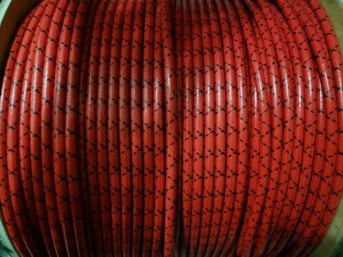 8mm Suppression Core BRAIDED CLOTH Red with Black tracers SPARK PLUG WIRE Foot