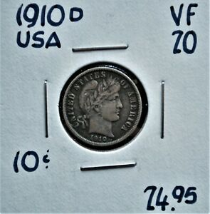 1910-D-United-States-10-cents-VF-20