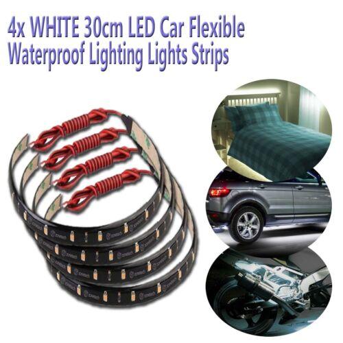 Zone Tech 4x White 30cm 15 LED Car Bike Flexible Waterproof LED Light Strips